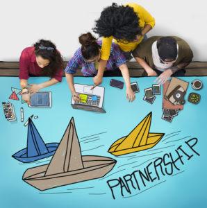 Partnerschafts-zusammen Zusammenarbeits-Teamwork-Konzept