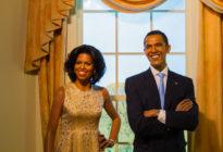 Bangkok, Thailand - 19. Dezember: Ein Wachsfigur von Barack und Michell