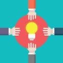Copyright-Verletzung. Idee und Hände