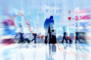 Geschäftsleute, die Finanzkonzepte reisen