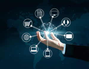 Hands holding circle global network connection