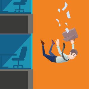 Mann in Bürokleidung fällt aus einem Gebäude