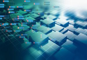Blockkettennetzkonzept auf Technologiehintergrund