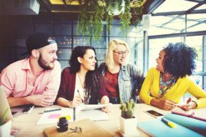 Sitzungs-Unterhaltungsbrainstorming-Kommunikations-Konzept