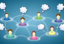 Mitglieder des sozialen Netzwerks mit Textwolken