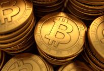 Schließen Sie herauf Illustration 3D von getäfelten goldenen Bitcoins