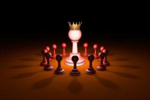 The new leader (chess metaphor). 3D rendering illustration