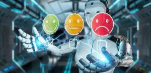 Cyborg, der Emojis zur Spiegelung der Kundenzufriedenheit benutzt