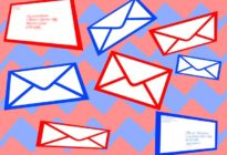 Mehrere skizzierte blau-weiße und rot-weiße Briefe auf farbigem Hintergrund