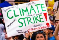 Schild wird auf einer Demonstration von einer Demonstrantin hochgehalten - Aufschrift: Climate strike