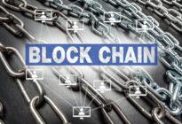 Mehrere Ketten, auf der sich die Aufschrift Block Chain befindet