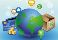 Internetshoppimg symbolisiert durch Globus und Internet-Icons