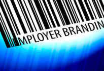 Employer branding - barcode with blue Background