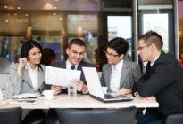 Business Team, dass ein Business Meeting abhält