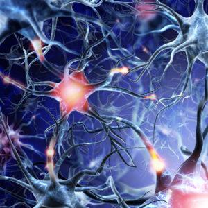 Neurales Netzwerk auf blauem Hintergrund