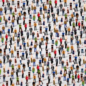 Mehrere Menschen vor weißem Hintergrund