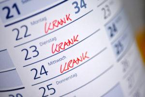 Kalender mit Aufschrift: krank
