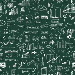 Business-Symbole auf grünem Hintergrund