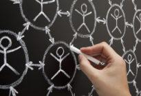Hand malt auf Tafel mit Kreide Social Network
