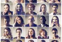 Komposition von verschiedenen Menschen, die ihre Gefühle ausdrücken