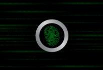 Binäre Zahlen und Fingerabdruck auf schwarzem Untergrund