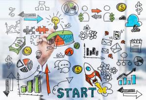 Brainstorming: Hand malt Business-Icons auf Glastafel