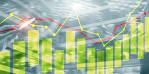 Charts auf technologischem Hintergrund