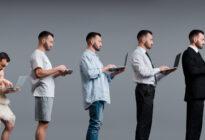 Digitale Transformation anhand von Menschen mit Laptop