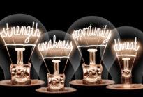 SWOT-Analyse mit vier Glühlampen