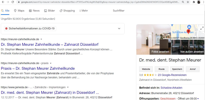 Beispiel Google My Business Eintrag