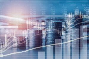 Geldmünzen mit Aktienwerten